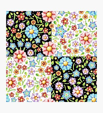Millefiori Floral Checks Photographic Print