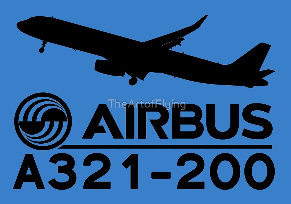 Airbus A321-200 - Silhouette (Black) by TheArtofFlying