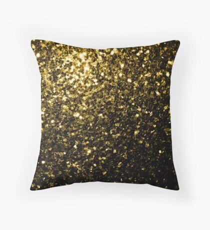 Beautiful Yellow Gold glitter sparkles Throw Pillow