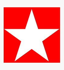 WHITE, STAR, on RED, Bright Star, STELLAR, ACHIEVEMENT, cool,  Photographic Print