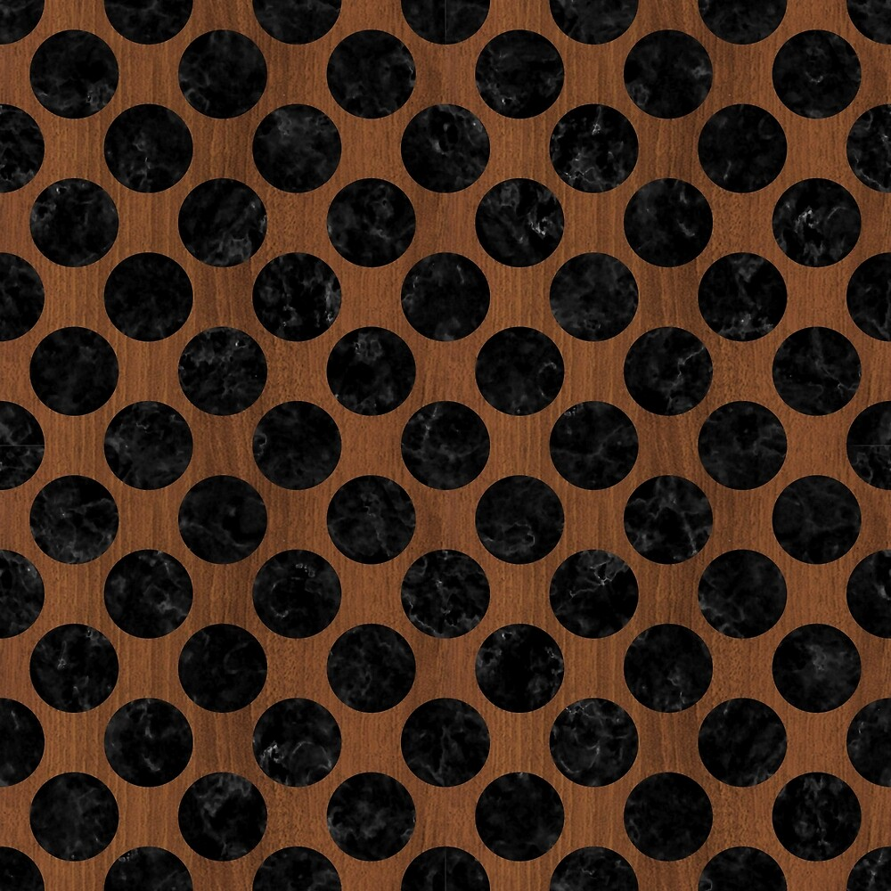 CIRCLES2 BLACK MARBLE & BROWN WOOD (R) by johnhunternance