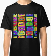 Bright, colorful, retro cassette seamless pattern, on a black background.  Classic T-Shirt