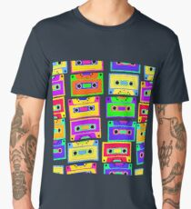 Bright, colorful, retro cassette seamless pattern, on a black background.  Men's Premium T-Shirt