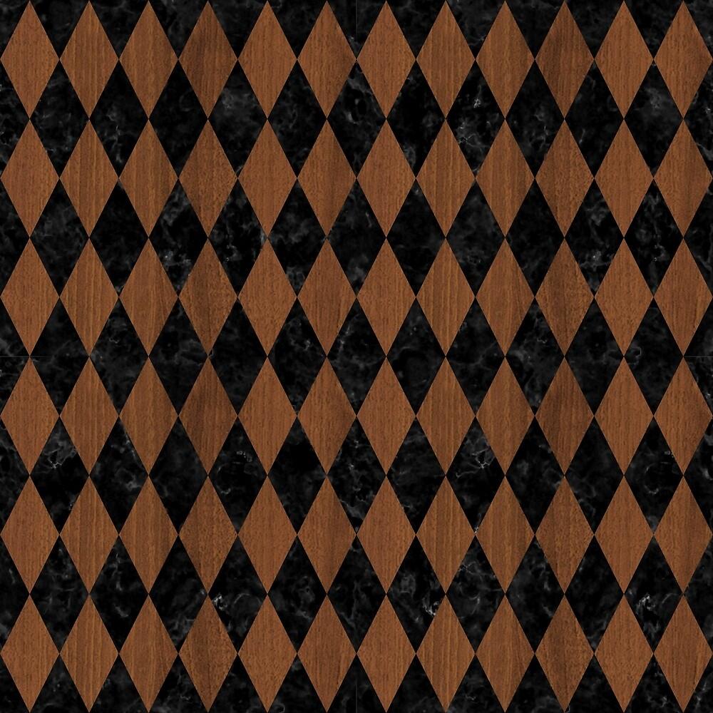 DIAMOND1 BLACK MARBLE & BROWN WOOD by johnhunternance