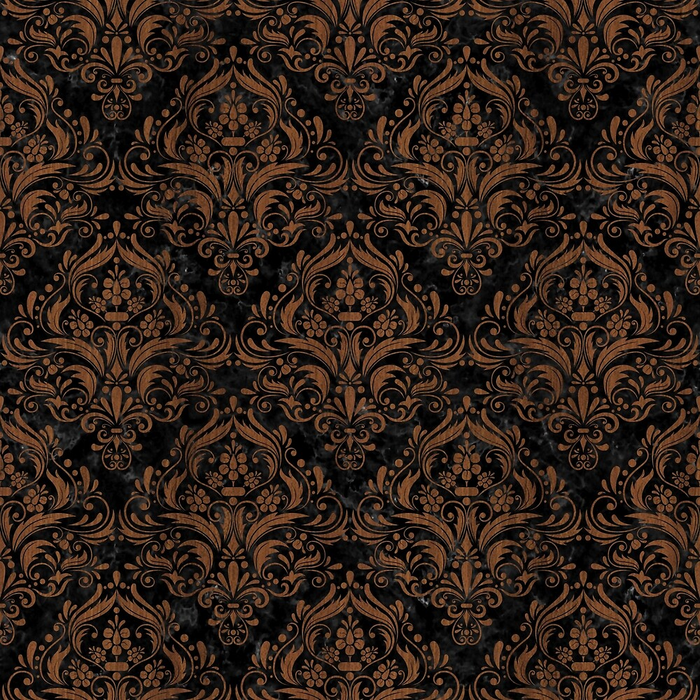 DAMASK1 BLACK MARBLE & BROWN WOOD by johnhunternance