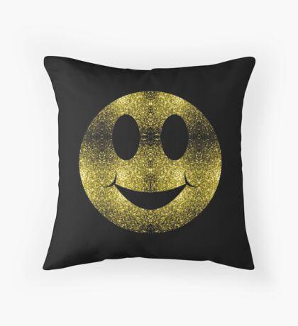 Sparkly Smiley Yellow Gold sparkles Throw Pillow