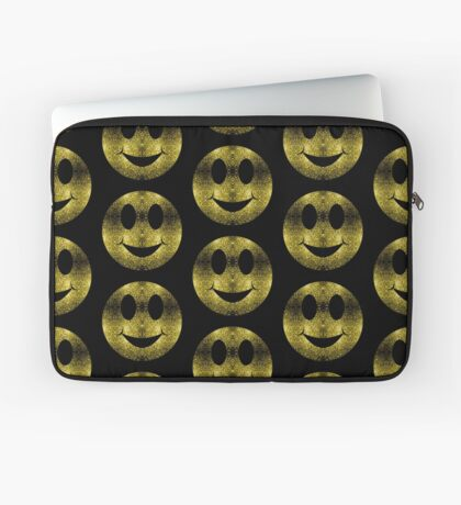 Sparkly Smiley Yellow Gold sparkles Laptop Sleeve