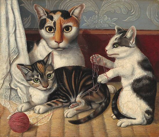 Cat and Kittens Painting - Folk Art by fineearth