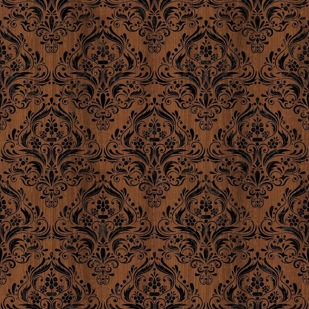 DAMASK1 BLACK MARBLE & BROWN WOOD (R) by johnhunternance