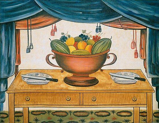 Bowl of Fruit, 1830 - Farmhouse Decor by fineearth