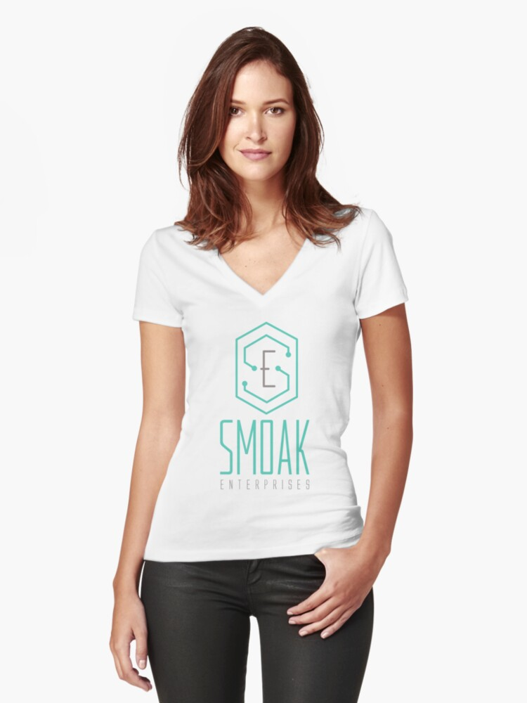 SE - Smoak Enterprises  Women's Fitted V-Neck T-Shirt Front