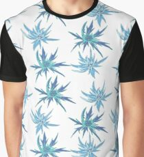 Seamless blooming, floral pattern.Raste illustration. Flowers blueheaded thorn on a white background. Graphic T-Shirt