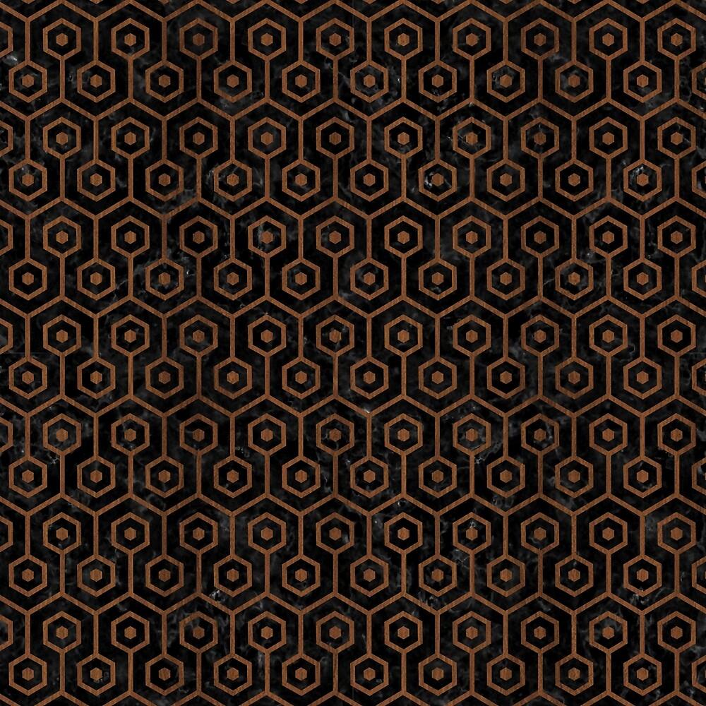 HEXAGON1 BLACK MARBLE & BROWN WOOD by johnhunternance