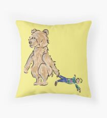 baby bears favorite doll Throw Pillow
