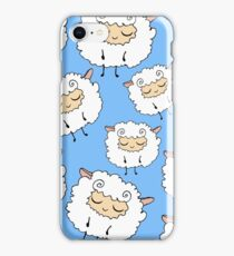 Sweet, furry, funny, dream sheep. Seamless, cartoon, vector pattern. Graphics for web design, textiles, fabrics. iPhone Case/Skin