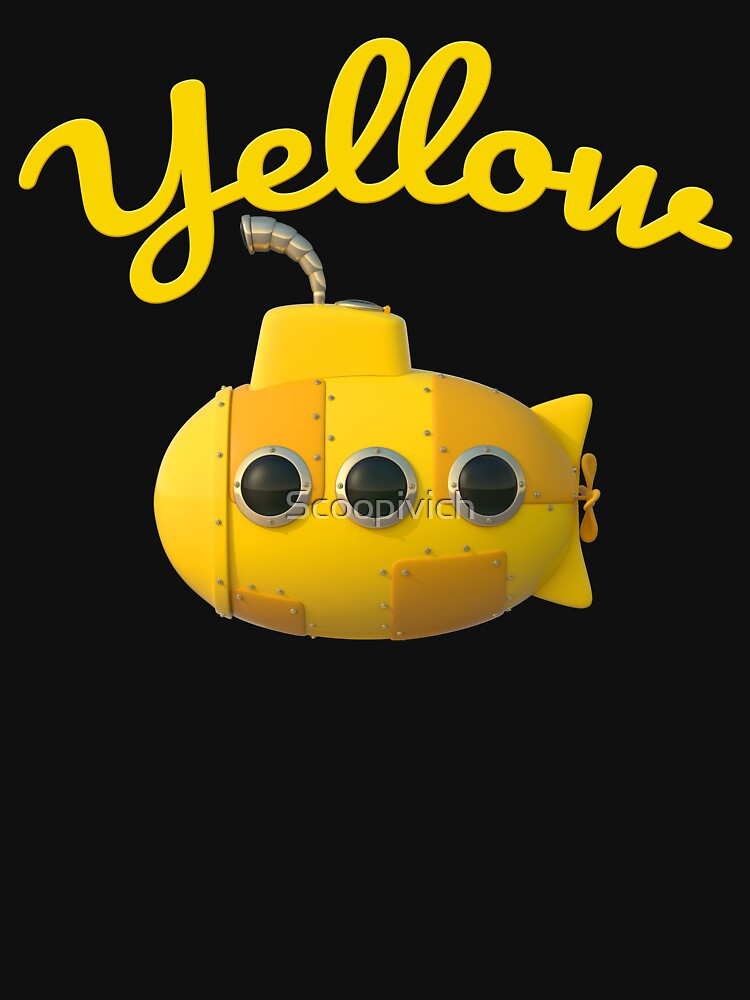 Cute cartoon yellow stylized Toy Submarine  by Scoopivich