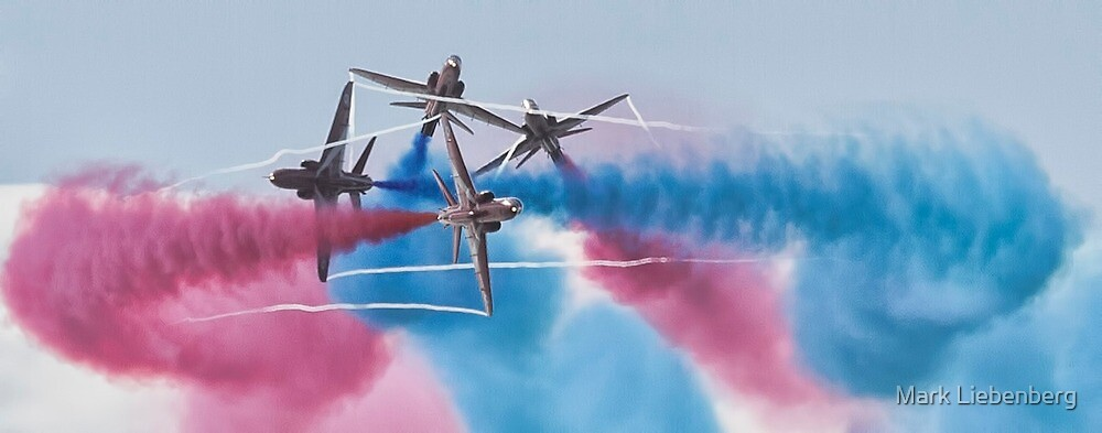 Red Arrows In Action 2 by Mark Liebenberg