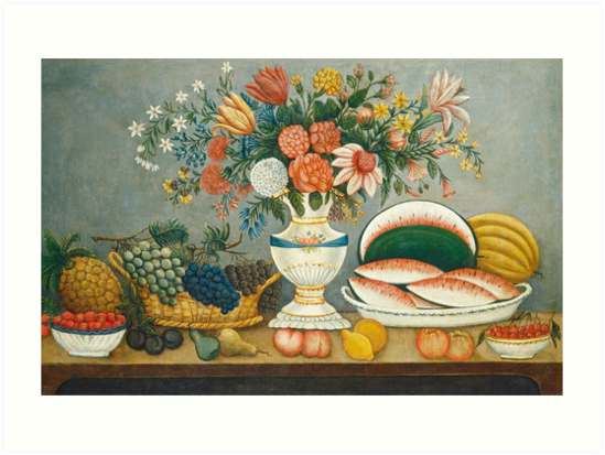 Fruit and Flowers American Folk Art by fineearth