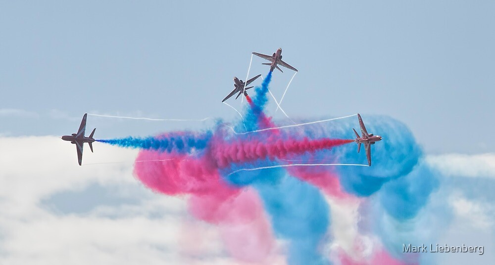 Red Arrows In Action 3 by Mark Liebenberg