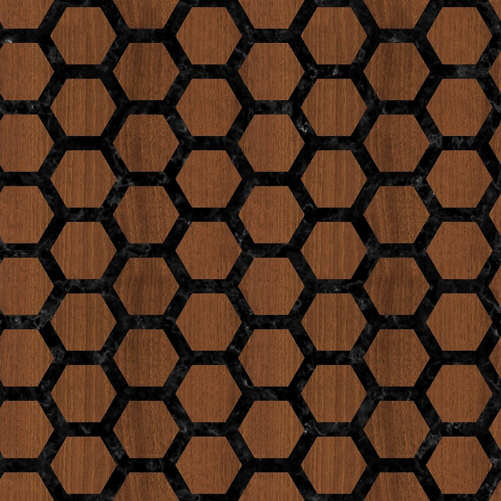 HEXAGON2 BLACK MARBLE & BROWN WOOD (R) by johnhunternance