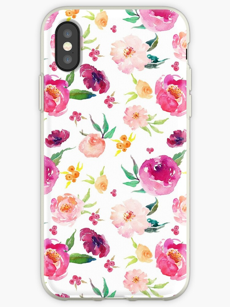 Pink and Blush Watercolour Peonies Pattern by KeikoPrints