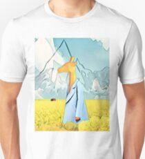 Giraffe in the yellow field of roses T-Shirt