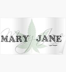 Mary Jane - Weed Leaf Typography - Cool Stoner Design Poster