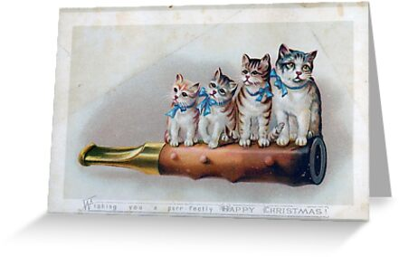 Cute Victorian Christmas Card & Sticker with Kittens by critterville