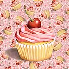 Pink Cupcake Paisley Twirling by PatriciaSheaArt