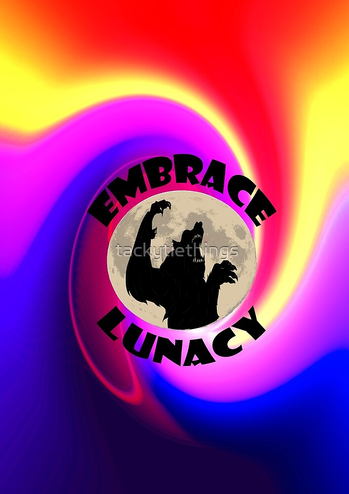 Embrace Lunacy Vibrant Werewolf Art by tackytiethings