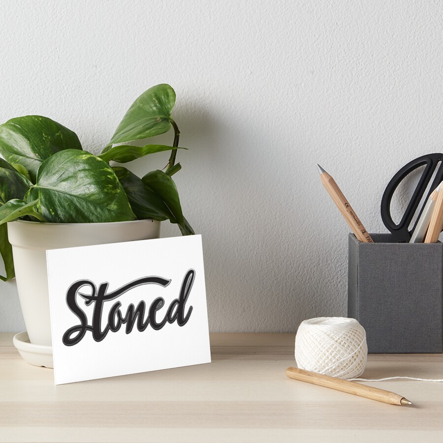 Stoned - Cool Vintage Stoner Gifts Black Typography