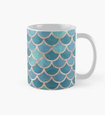 Teal Blue Rose Gold Mermaid Scales Mug