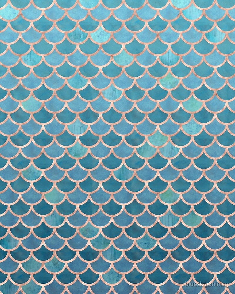Teal Blue Rose Gold Mermaid Scales by blueskywhimsy