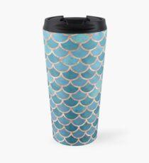 Teal Blue Rose Gold Mermaid Scales Travel Mug
