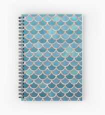 Teal Blue Rose Gold Mermaid Scales Spiral Notebook