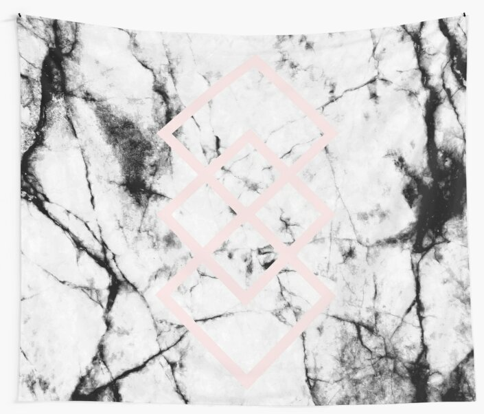 White Marble Concrete Look Blush Pink Geometric Squares by 5mmpaper