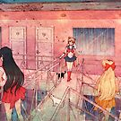 Sailor Scouts at the Pink Hotel by JGVart