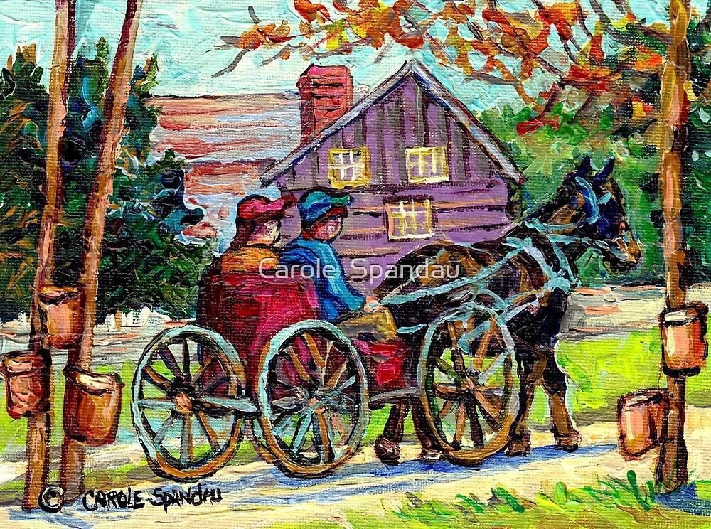 SUGAR SHACK CANADIAN LANDSCAPE PAINTING ONTARIO MAPLE HORSE AND BUGGY COUNTRY SCENE CAROLE SPANDAU FINE ART by Carole  Spandau