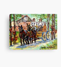 SUGARING OFF MAPLE TREES ONTARIO COUNTRY SCENE CANADIAN LANDSCAPE PAINTING HORSES PULLING WAGON CAROLE SPANDAU Metal Print