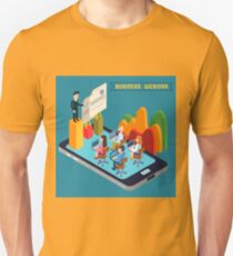 Business Webinar. Webinar Technology. Web Seminar. Modern Technology. Modern Education. Educational Process. Network Education. Business Meeting. Isometric People. Isometric Concept.  T-Shirt