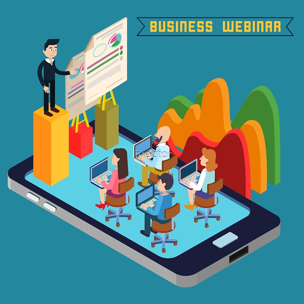 Business Webinar. Webinar Technology. Web Seminar. Modern Technology. Modern Education. Educational Process. Network Education. Business Meeting. Isometric People. Isometric Concept.  by ivector