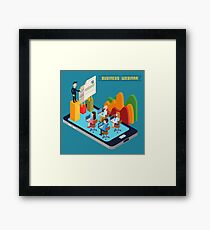 Business Webinar. Webinar Technology. Web Seminar. Modern Technology. Modern Education. Educational Process. Network Education. Business Meeting. Isometric People. Isometric Concept.  Framed Print