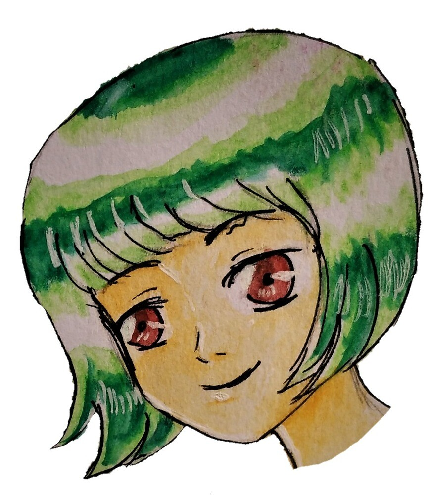 A Smiling Girl With Green Hair by Zizi-Drawing