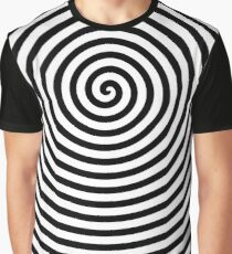 Trippy Spiral  - Black and White Graphic T-Shirt