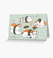 Kawaii Neko Sushi Greeting Card