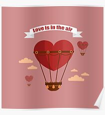 Happy Valentine's Day Greeting Cards. Air Baloon, Present with Love, Cupcake and Whale.  Poster