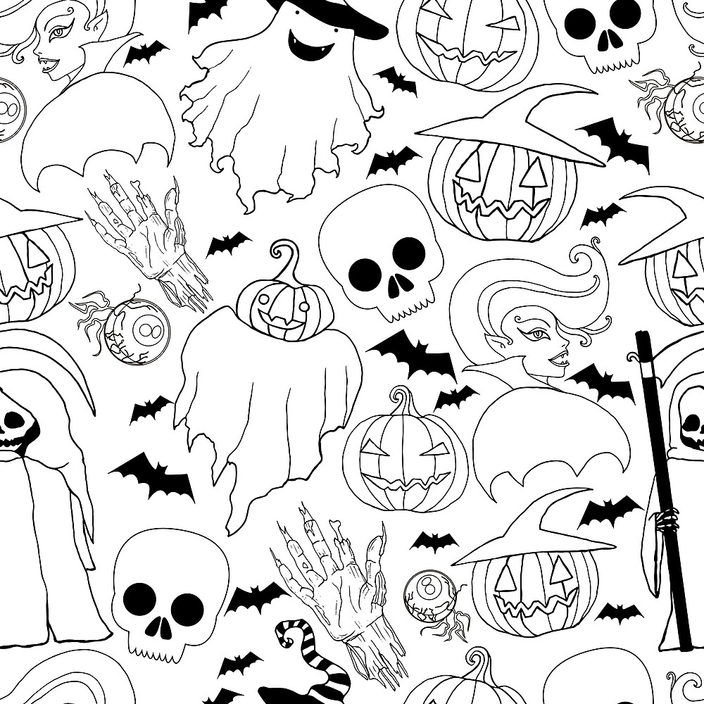 Black and white seamless Halloween pattern.Vampire girl, ghost,pumpkin in a hat, zombie hand, bat, death with a scythe,cartoon sketch style. by Kioto