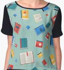 Books Seamless Pattern. Different Colorful Books. Vector illustration in flat style Women's Chiffon Top