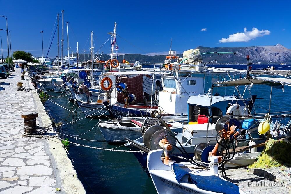 Fishing boats of Corfu Town  by Rob Hawkins