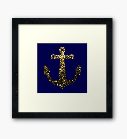 Yellow Gold sparkles Anchor on Dark navy blue Framed Print
